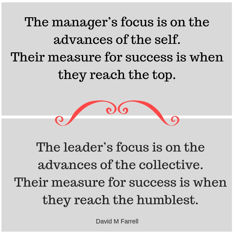 The manager's focus is on the advances of the self. Their measure for success is when they reach the topAdd subheading